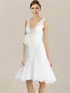 Robe De Mariee Courte : dentelle robe de mari e courte avec col en v bc621 ~ Preciouscoupons.com Idées de Décoration
