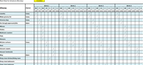 Cleaning Schedule Template Cleaning Schedule Template Cyberuse