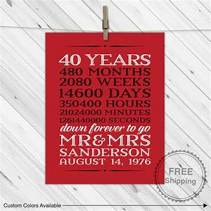 40th anniversary gift for parents 40 year anniversary With 40 year wedding anniversary gift