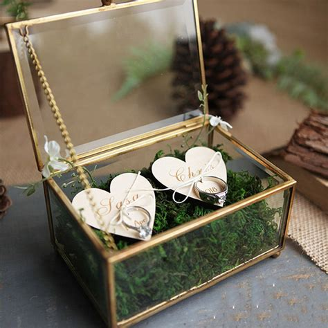 unique wedding favors hexagonal geometric ring box flower jewelry box ring bearer pillow for