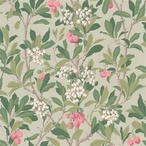 Papier Peint Fleuri : papier peint vert fleuri strawberry tree cole son ~ Premium-room.com Idées de Décoration