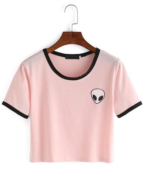 cactus stripe t shirt pink crew neck print crop t shirtfor romwe