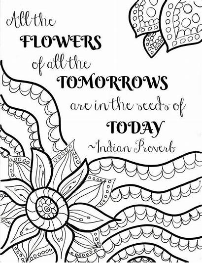 Coloring Pages Quote Flower Printable Printables Sheets