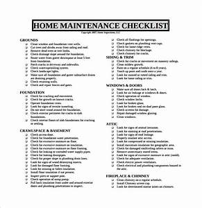 sample maintenance checklist template 9 free documents With home repair checklist template