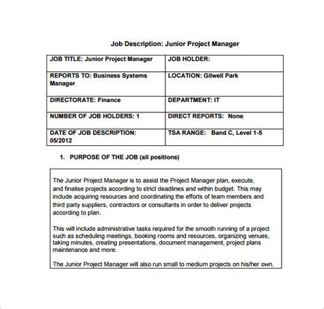 9 project manager description templates free sle