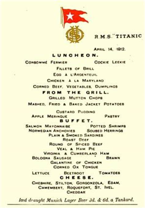 les menus servis  bord du titanic