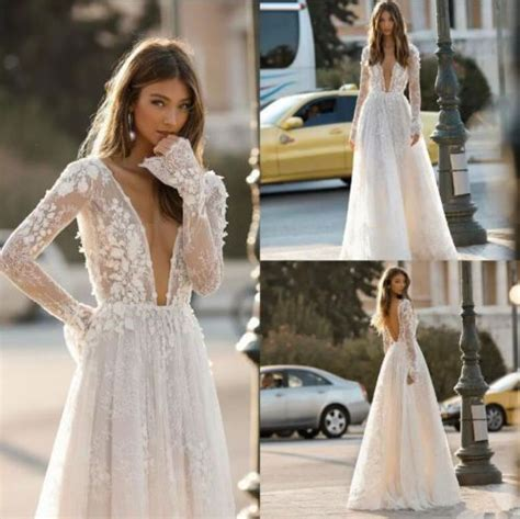 Bohemian Wedding Dresses Deep V Neck Lace Appliques