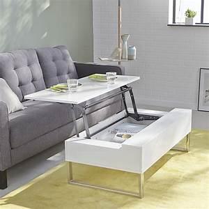 Table De Salon Alinea : table basse blanche avec tablette relevable novy ~ Premium-room.com Idées de Décoration