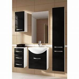 Ensemble de salle de bain koral noir 55cm meuble salle for Porte d entrée pvc avec meuble salle de bain largeur 55 cm