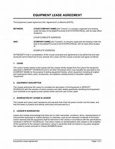 equipment lease agreement template sample form With equipment hire form template