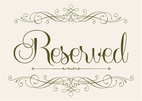 reserved sign wedding seating reserved sign 5 x 7
