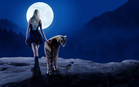 hd tiger girl moon dream desktop wallpapers