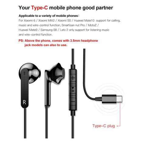 201 couteurs intra auriculaires usb type c kit mains libres