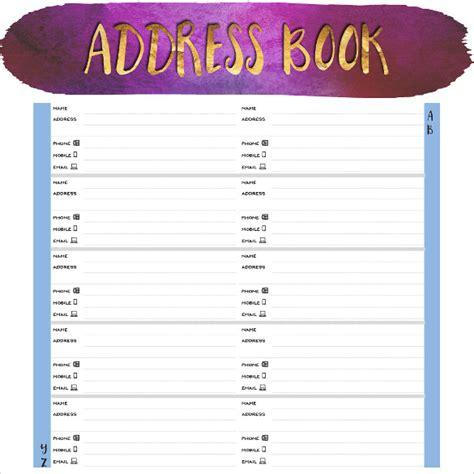 address book template 10 address book sles sle templates