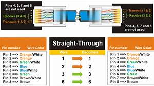Ethernet Lan  Straight Thru And Crossover Cable Layout Diagrams