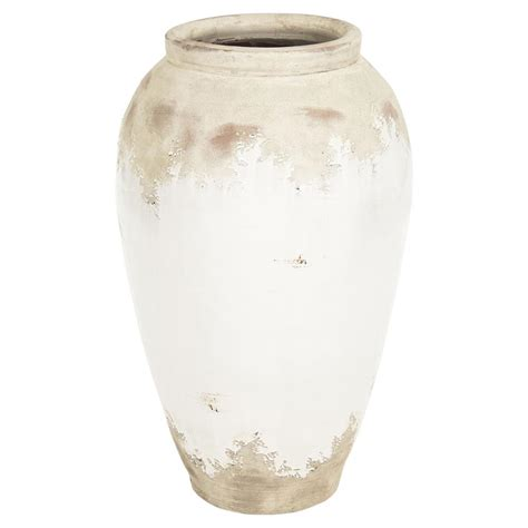 White Vase by Siena White Rustic Distressed White Ceramic Floor Vase