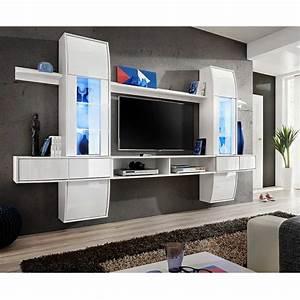 Meuble Tv Mural Blanc : meuble tv mural design comet i blanc ~ Dailycaller-alerts.com Idées de Décoration