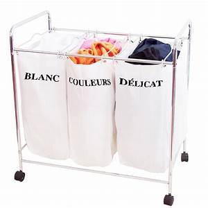 Panier A Linge Blanc : panier linge 3 compartiments tissu ~ Teatrodelosmanantiales.com Idées de Décoration