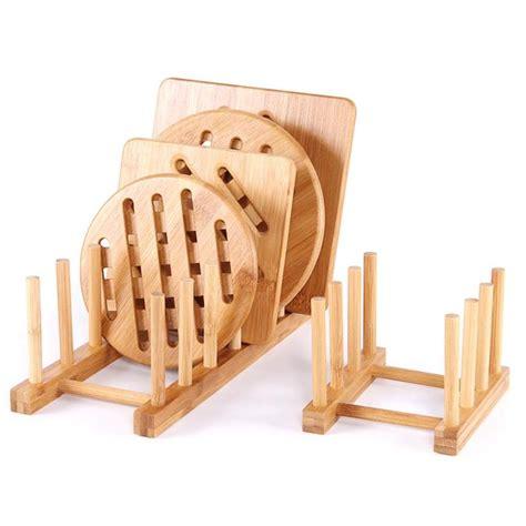 bamboo wooden kitchen dish rack cup dinner plates bookshelf diy holder sink drying dish rack