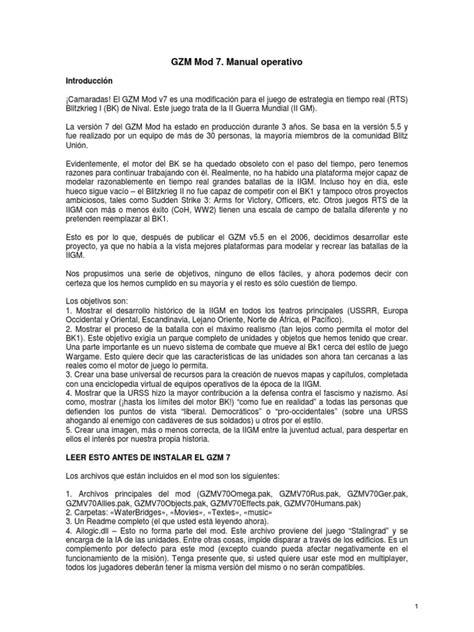 Manual de Operación del MOD GZM 7.0 en Español | Tanks