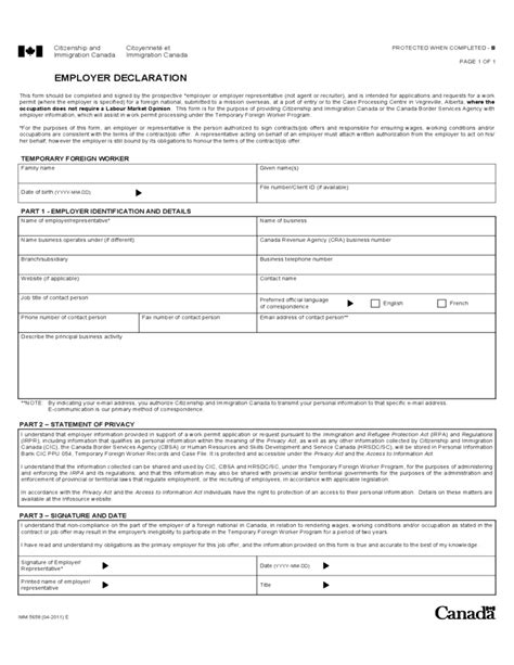 employer declaration canada