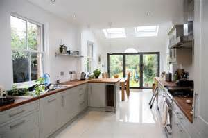 kitchen extensions ideas kitchen idea longer kitchen design with small velux extension and bifold doors design