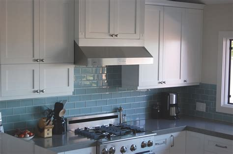 White Glass Subway Tile Kitchen Backsplash by Best Backsplash For Cabinets Sky Blue Glass Subway