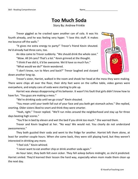 reading comprehension worksheet much soda