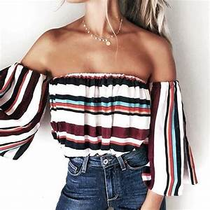 Top: blouse, stripes, striped top, off the shoulder ...
