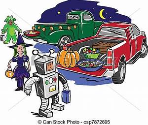 Clipart Vector of Truck or Treat - Kids trick or treating ...