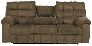 Antwan truffle reclining sofa with drop down table for Sectional sofa with drop down table