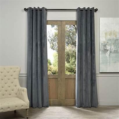 Grommet Grey Curtain Blackout Velvet Panel Curtains