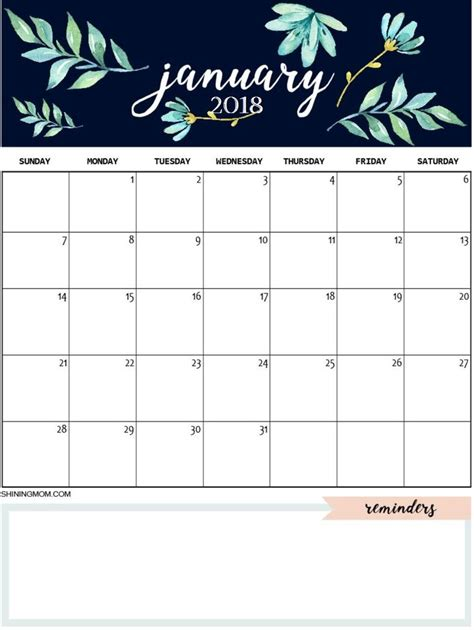 january  cute calendar january calendar calendar