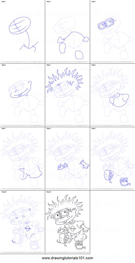 draw chuckie  rugrats printable step  step
