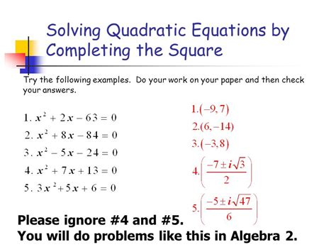 How To Solve Equations By Completing The Square Method Tessshebaylo
