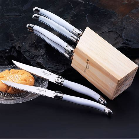 knife stainless knives steel steak laguiole tray drawer 6pcs wood kitchen dinner handles aliexpress cutlery sets pcs
