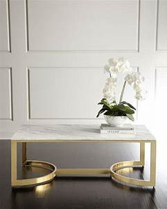 white marble rectangle brass base coffee table With white marble and brass coffee table