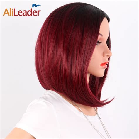Alileader Product Two Tone Ombre Burgundy Wig Synthetic