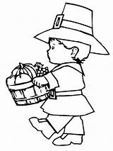 Coloring Pilgrim Thanksgiving Pages Printable Boy Turkey Printables Fun Lots Even sketch template