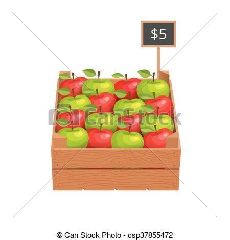 caja de madera manzanas maduro caja maduro de madera ilustraci 243 n apples vector