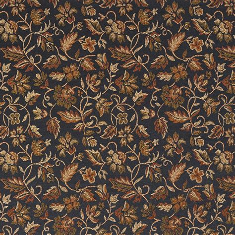 Upholstery Fabric by E620 Floral Black Gold Green Damask Upholstery And Drapery