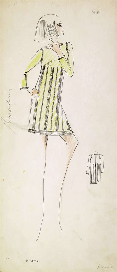 original karl lagerfeld fashion drawings circa