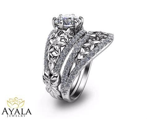 floral bridal unique engagement ring s 14k white gold ring ebay