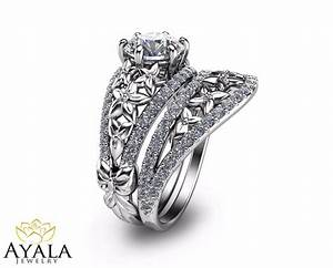 floral diamond bridal set unique engagement ring39s set 14k With unique wedding bands for solitaire rings