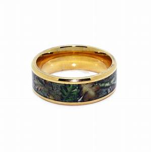 8c100gt gold camo wedding ring bevel titanium gold for Gold camo wedding rings