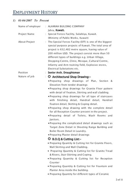Architectural Draughtsman Resume Format by Senior Architecture Draughtsman Auto Cad Draftsman