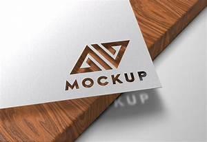 Paper, Cutout, On, Wood, Logo, Mockup, U2013, Graphicsfamily