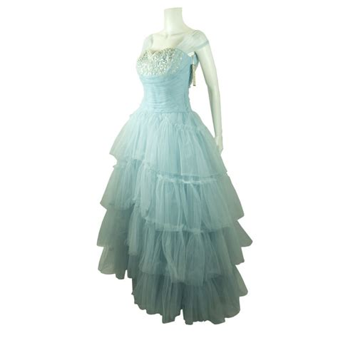 baby blue bridesmaid dresses vintage 1940 50 39 s shelf bust baby blue tulle wedding dress for sale antiques
