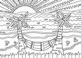 Coloring Beach Pages Tropical Scenes sketch template