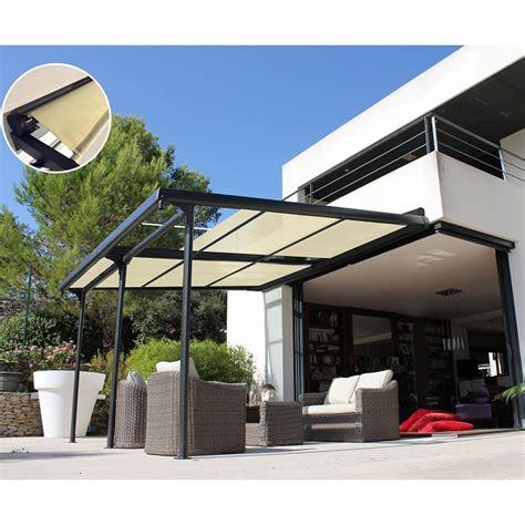 tonnelle adoss 233 e aluminium stores enroulables 4x3 5 m azura plantes et jardins